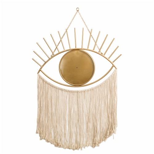 Glitzhome Regency Modern Boho Metal Eye Mirror with Tassels Perspective: back