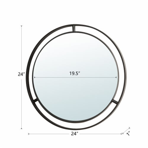 Glitzhome Deluxe Metal Round Wall Mirror - Black Perspective: back