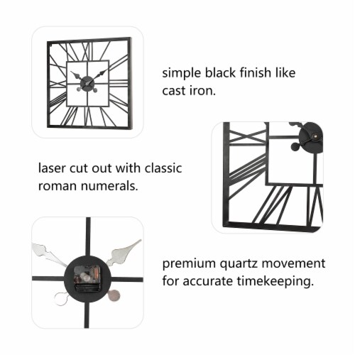 Glitzhome Modern Industrial Metal Square Wall Clock - Black Perspective: back