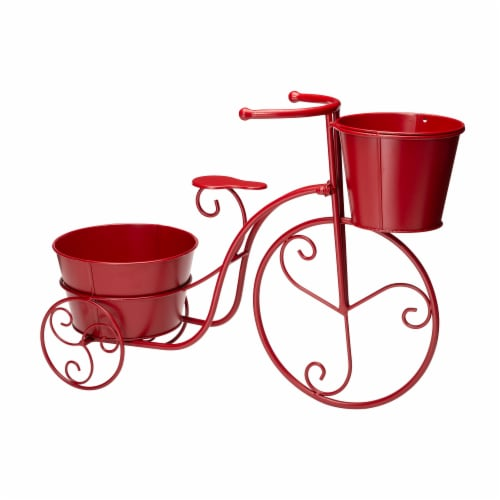 Glitzhome Metal Bicycle with Pots Plant Stand - Red Perspective: back