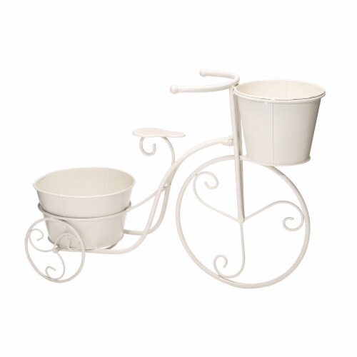 Glitzhome Metal Bicycle Plant Stand - White Perspective: back
