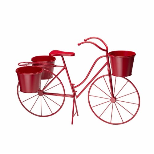 Glitzhome Oversized Metal Bicycle with Pots Plant Stand - Red Perspective: back