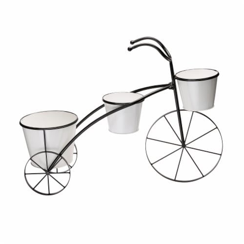 Glitzhome Metal Enamel Bicycle Planter Stand - Black/White Perspective: back