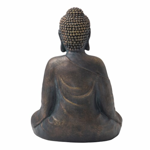 Glitzhome Meditating Buddha Garden Statue Perspective: back