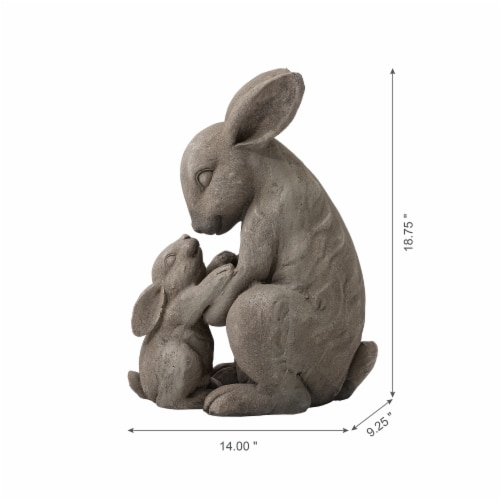 Glitzhome Sweet Sitting Mother and Baby Rabbits Statue Perspective: back
