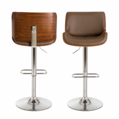 Glitzhome Adjustable Height Swivel Bar Stool Pair - Brown Perspective: back