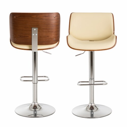 Glitzhome Adjustable Height Swivel Bar Stools - Beige Perspective: back