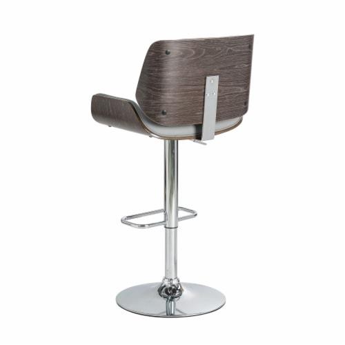 Glitzhome Mid-Century Modern Adjustable Height Swivel Bar Stool - Gray Perspective: back