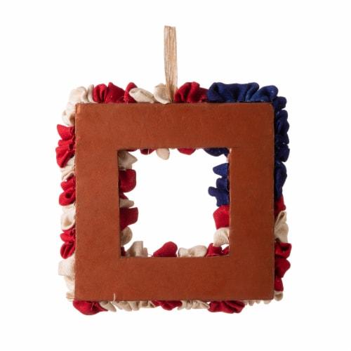 Glitzhome Americana Square Fabric Wreath Perspective: back