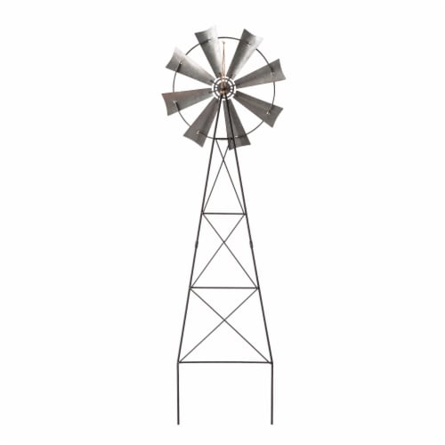 Glitzhome Patriotic Metal Wind Spinner Yard Stake/Wall Sign Perspective: back