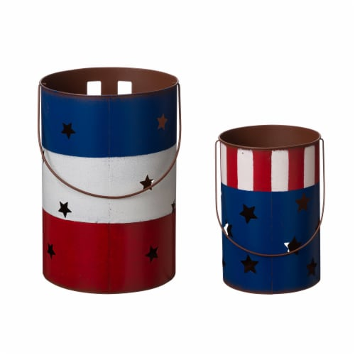 Glitzhome Patriotic USA Metal Cut-Out Star Lantern Set Perspective: back