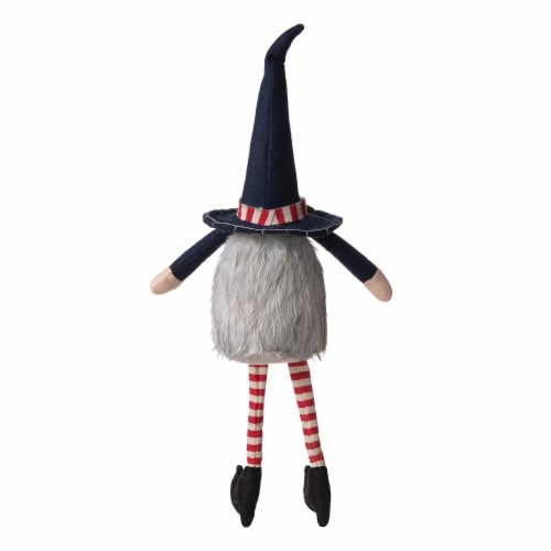 Glitzhome Patriotic Stuffed Fabric Mantel Sitter Gnome Perspective: back