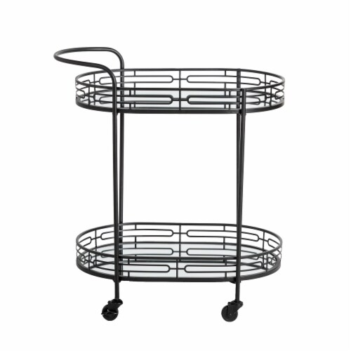 Glitzhome Deluxe 2-Tier Metal Oval Mirrored Bar Cart - Black Perspective: back