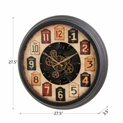 Glitzhome Oversized Vintage Round Gear Clock Perspective: back