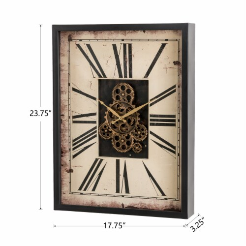 Glitzhome Vintage Rectangle Gear Clock Perspective: back