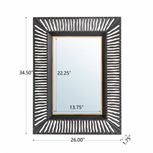 Glitzhome Oversized Modern Metal Wall Mirror - Black/Gold Perspective: back