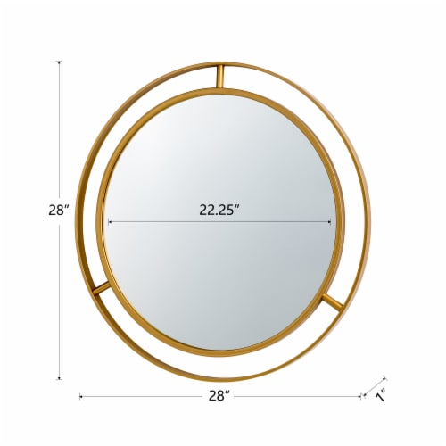 Glitzhome Oversized Glam Metal Round Wall Mirror - Gold Perspective: back