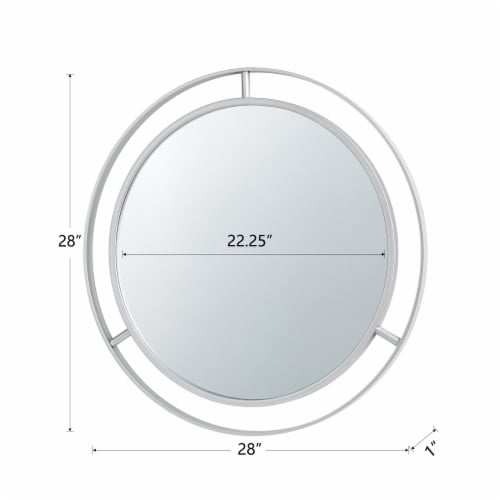 Glitzhome Oversized Deluxe Metal Round Wall Mirror - Silver Perspective: back
