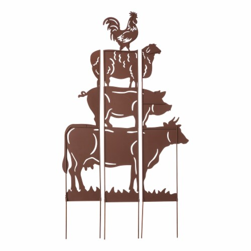 Glitzhome Farmhouse Silhouette Rustic Metal Yard Stake Perspective: back