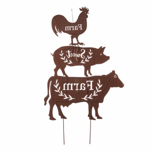 Glitzhome Farmhouse Metal Rustic Silhouette Yardstake Wall Decor Perspective: back