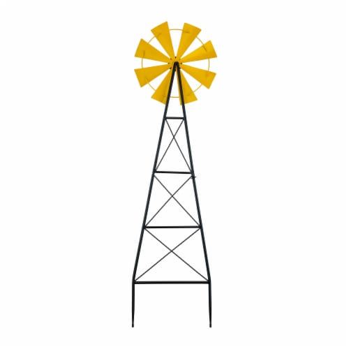 Glitzhome Metal Wind Spinner Yard Steak Spring Decor - Yellow Perspective: back