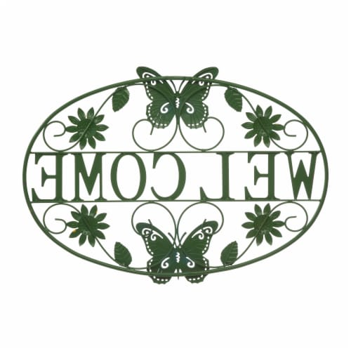 Glitzhome Metal Welcome Word Butterfly and Flowers Wall Decor Perspective: back