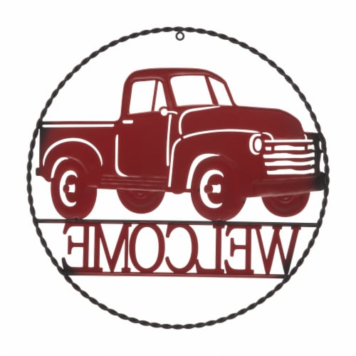 Glitzhome Rustic Metal Truck with Welcome Word Wall Decoration - Red Perspective: back