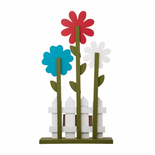 Glitzhome Wooden Trio Flowers and Fence Welcome Porch Décor Perspective: back