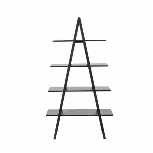 Glitzhome 4-Tiered Industrial Shelves - Black Oak Perspective: back