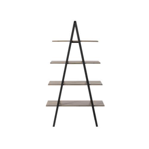 Glitzhome 4-Tiered Metal & Wood Industrial Shelf - Oak Perspective: back