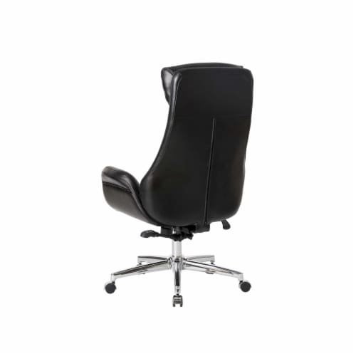 Glitzhome Midcentury Air Leatherette Adjustable Swivel High Back Office Chair - Black Perspective: back