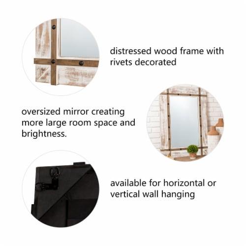 Glitzhome Oversized Farmhouse Wood Rectangular Wall Mirror Perspective: back