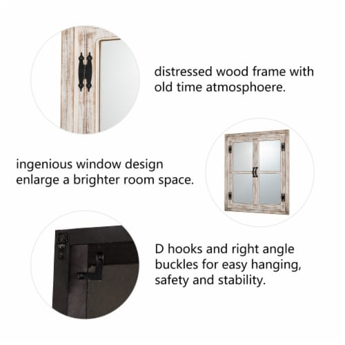 Glitzhome Oversized Farmhouse Wood Window Frame Wall Mirror Perspective: back