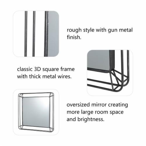 Glitzhome Modern Square Metal Frame Geometric Wall Mirror Perspective: back