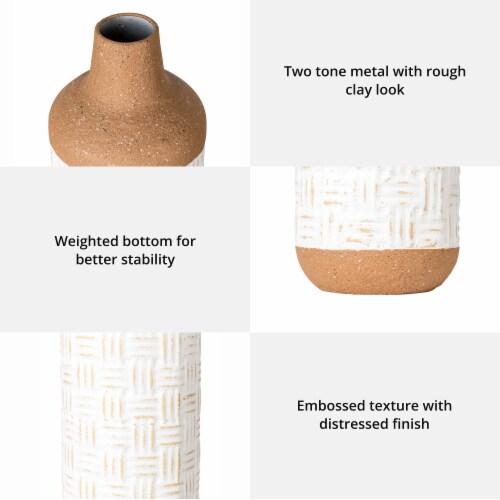 Glitzhome Boho Farmhouse Decorative Metal Floor Vases Perspective: back