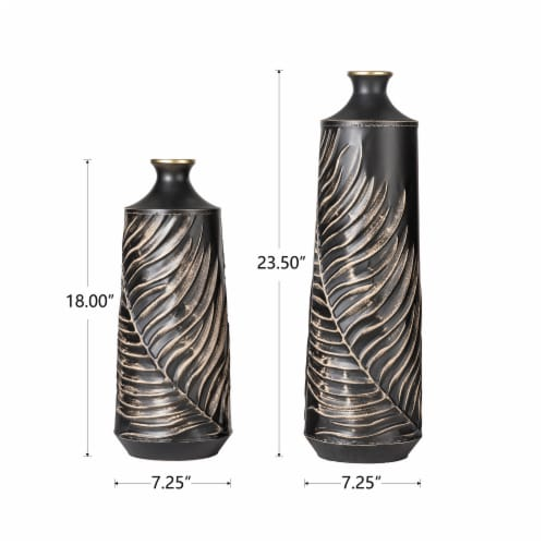 Glitzhome Boho Elegant Decorative Metal Table & Floor Vases Perspective: back