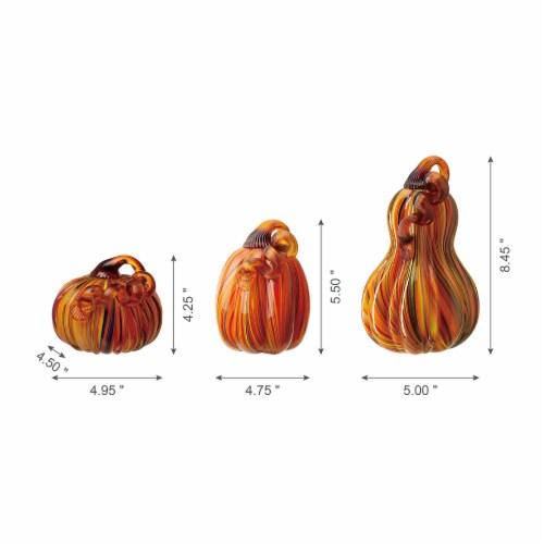 Glitzhome Multi-Striped Glass Pumpkins Perspective: back