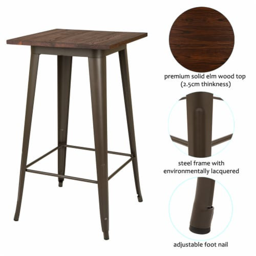 Glitzhome Rustic Steel Square Bar Table & Stools Set Perspective: back
