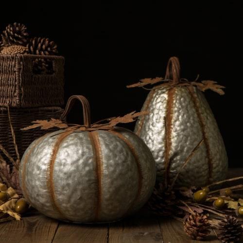 Glitzhome Galvanized Metal Pumpkins Perspective: back