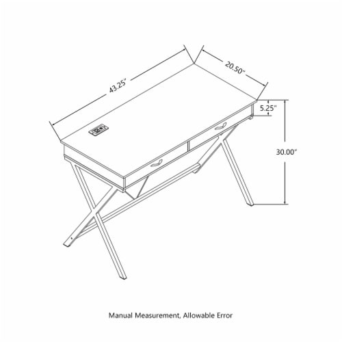 Glitzhome Modern Industry Metal & Wood Writing Desk with Outlet and USB Ports Perspective: back