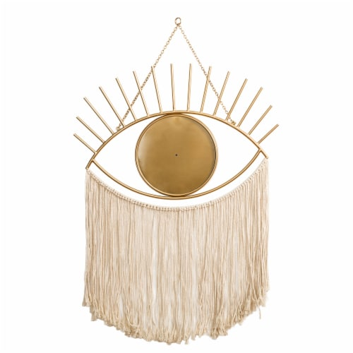 Glitzhome Regency Modern Boho Tasselled Metal Eye Mirrors Perspective: back