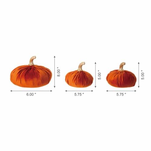 Glitzhome Orange Velvet Pumpkins Decor Perspective: back