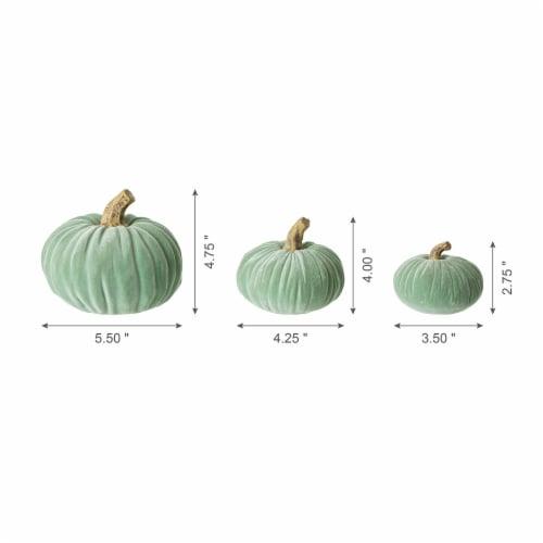 Glitzhome Mint Green Resin Pumpkins Decor Perspective: back