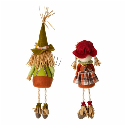 Glitzhome Fall Fabric Scarecrow Shelf Sitters Perspective: back
