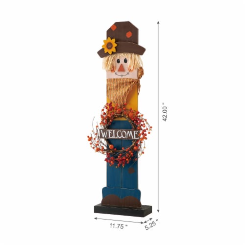 Glitzhome Fall Lighted Wooden Scarecrow with Wreath Porch Decor Perspective: back
