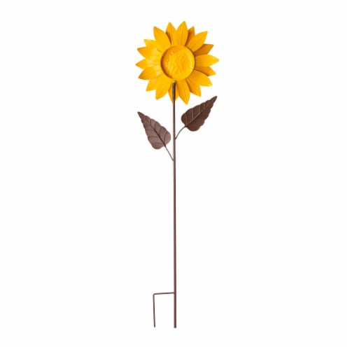 Glitzhome Fall Metal Fully Bloomed Sunflower Yard Stake Perspective: back