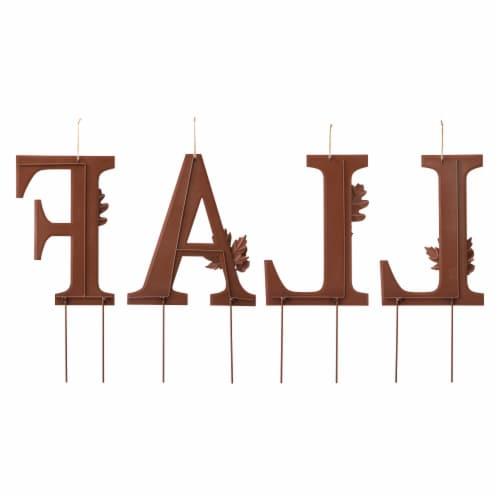 Glitzhome Metal Fall Yard Stake Decor Perspective: back