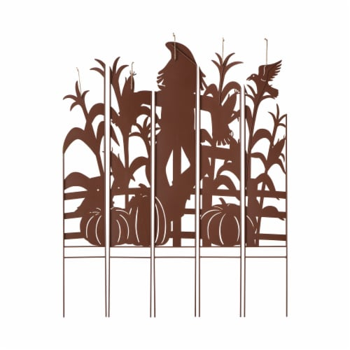 Glitzhome Fall Metal Scarecrow & Corn Farmhouse Yard Stake Perspective: back