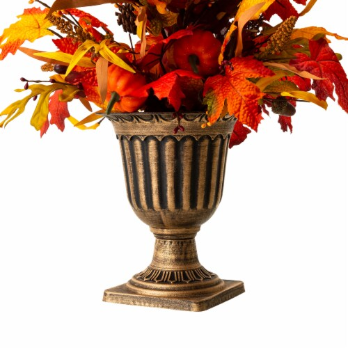 Glitzhome Fall Lighted Maple Leaves Potted Tree with Lights Perspective: back
