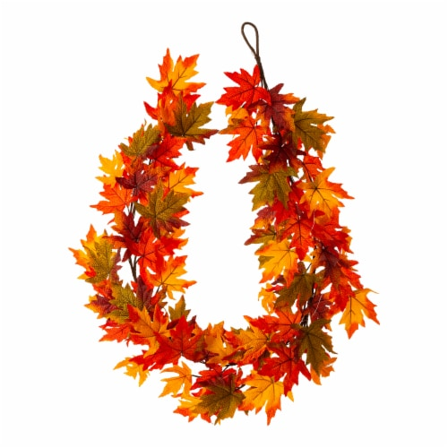 Glitzhome Fall Lighted Maple Leaves Garland Perspective: back